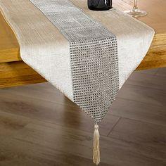 Just Contempo Diamante Table Runner, 13 x 72 inches - Cream