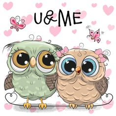 Imagens, fotos stock e vetores similares de Cute Cartoon Owl on a hearts background - 1304109256