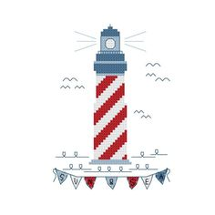Lighthouse Nautical Cross Stitch Pattern van VickieDesigns op Etsy, $5.00