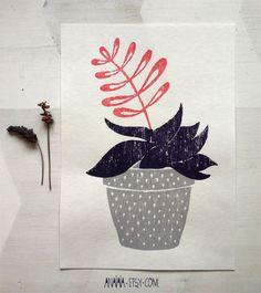 Vase Flower  woodcut print by anaiaia on Etsy, $25.00