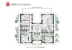 """Bungalow mit 6 Zimmern, Ankleide, offener Küche, Speisekammer, 2 Bädern, Gäste-WC (mit Möglichkeit für Gästedusche), Diele, Garderobe und Technikraum. Pultdach 22° Dachneigung und Flachdach. Im Preis enthalten: schlüsselfertig inkl. Maler, Fliesen, Laminat, Teppichboden und Technikpaket 1 (Gasbrennwerttherme + Lüftungsanlage mit Wärmerückgewinnung) ab OK Bodenplatte/Kellerdecke"""". *Abbildungen zeigen teilweise individuelle Zusatzausstattung."""