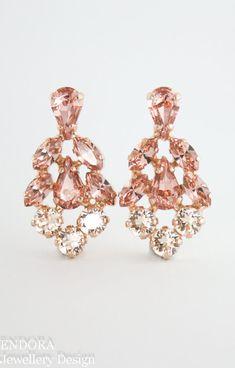 blush bridal earringsblush wedding jewelryblush statement