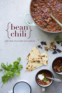 Bean Chili with Walnuts & Chocolate - It has the most wonderful flavor from dark chocolate, coffee, red wine and crunchy walnuts.