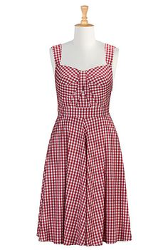 Gingham check empire waist dress