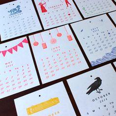 2014 Letterpress Calendar | Sesame Letterpress Store