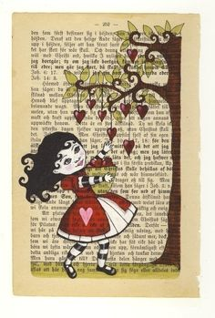 The little heart collector -print of original using recycled book pages via Etsy. Artist: Annette Mangseth