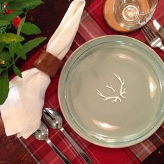 Monogrammed plate with antlers will leave your mark on holiday entertaining!