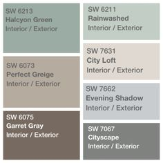 30 Modern Exterior Paint Colors For Houses - Stylendesigns Palette decided for house paint Sherwin Williams perfect greige Exterior Paint Colors For House, Interior Paint Colors, Paint Colors For Home, Exterior Colors, Paint Colours, Interior Painting, Modern Exterior, Gray Exterior, Interior Design