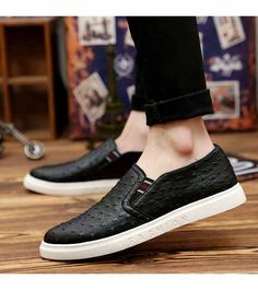 Men's #black shoe #sneakers pattern design, Slip on style, casual leisure occasions.