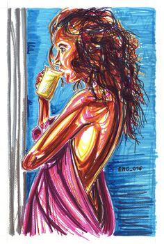 """il te"", watercolor marking pen, 140lb/300gsm - 46x31cm paper, 2016 author: ernesto maria giuffre' #painting #pen #art #woman #te #pour #wake #profile"