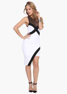 Mariah Mesh Dress in White | A sexy asymmetrical dress. This dress has mesh paneling at top wtih color blocking throughout. Has asymmetrical hemline.