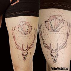 Reindeer skull, antlers  Geometry. Black tattoo. Designed by me. ;)