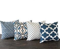 """Throw pillow covers 18"""" x 18"""" Set Of Four blue natural chocolate brown cushion cover pillow shams on Etsy, £44.19"""