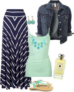 Dark blue gown, light green shirt, jeans jacket and sandals for ladies