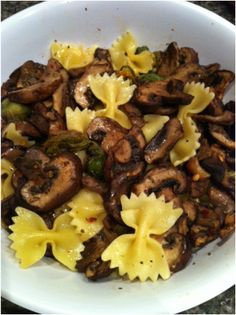 Spiced Baby Bella Mushrooms and Bow Tie Pasta