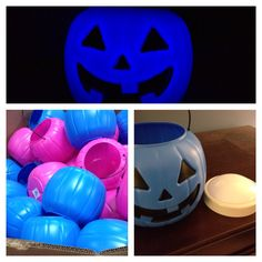 My contribution to the #tealpumpkinproject. The light is battery operated and I had one on hand. The pumpkin was $1.
