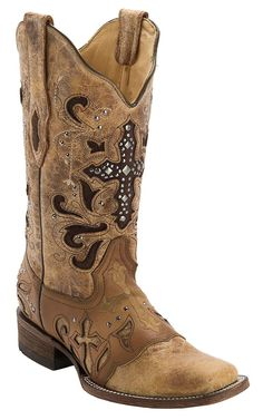 women's square toe cross boots | Corral Women's Antique Saddle with Stud Cross Square Toe ... | Clothes