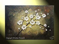 "Original Abstract Textured Painting White by ChristineKrainock Original Abstract Textured Painting, White Flowers Painting, Modern Floral Painting, Cherry Blossom, Palette Knife, 24x36"" by Christine"
