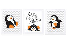 Penguin Nursery Art Set of 3 Print Black White Orange Grey