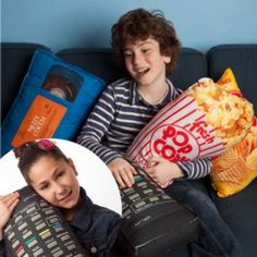 Complete movie nights in with this fun and tasty popcorn pillow! Great for supporting your neck or back when your enjoying the latest chick flick or sci-fi! A great gift for movie buffs. Theatre Games, Theater, Movie Popcorn, Pop Popcorn, Modern Store, Chick Flicks, Novelty Items, Potato Chips, Home Furnishings