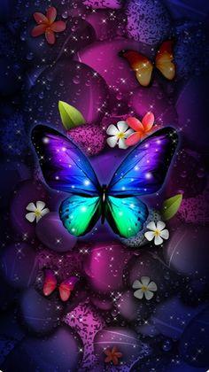 Purple Butterfly Wallpaper, Butterfly Artwork, Cute Galaxy Wallpaper, Butterfly Background, Bling Wallpaper, Flower Phone Wallpaper, Cute Wallpaper Backgrounds, Cellphone Wallpaper, Colorful Wallpaper