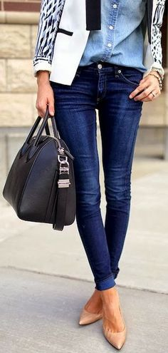 chambray shirt, skinny jeans, black and white jacket, but taupe booties