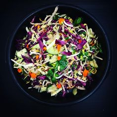 Love coleslaw - the colours are vibrant, it's crunchy it's jam packed with nutrients and I toss this with a lime and coriander home made Mayo - super good 😊 recipe in my upcoming cookbook Healthy Side Dishes, Side Dish Recipes, Dinner Recipes, Clean Eating Recipes, Healthy Eating, Healthy Recipes, Healthy Food, Kids Meals, Easy Meals