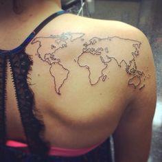 World map tattoo from Iron brush tattoo in Lincoln, NE #crosstattoosonback