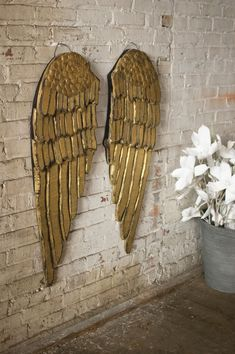 Set /2 Wood Gold Angel Wings Wall Decor Fancy Cottage Chic Christmas Decor  #Handmade #Farmhouse