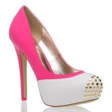 b00cf1ae60f6b1 pink white and gold studded shoe Cute Heels