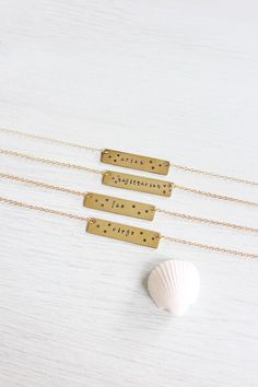 Gold zodiac necklace with stars Star sign by MoonTideJewellery