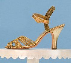1933 - Macramé Evening Sandal by Bullock's Wilshire - Cotton, metallic leather, rhinestones 30s gold
