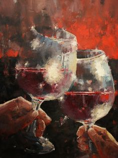 Wine Painting, Easy Canvas Painting, Oil Painting Abstract, Canvas Art, Oil Painting Pictures, Decorated Wine Glasses, Wine Art, In Vino Veritas, Female Art
