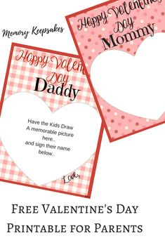 Valentine's Day Memory Keepsake Cards for Parents.  Print them out, have the kids draw inside the hearts and you have a great Valentine's Day Card for your spouse!