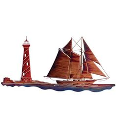 """Sailboat With Lighthouse Laser-Cut Wall Sculpture by Lazart...The lighthouse is a symbol of steadfast support and reassurance. The first documented lighthouse in the world was the Lighthouse of Alexandria, built on the island of Pharos about 200 BCE. The name Pharos is used as the noun for """"lighthouse"""" in many languages. Pharology (the study of lighthouses) also comes from this name. The oldest lighthouse in the UK is at Dover Castle. Caligula had it built in 90 CE."""