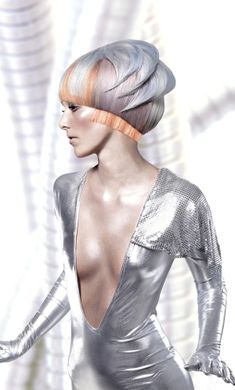 future, futuristic, Suzanne Pack, future girl, futuristic girl, Wella, hairstyle, silver hair, girl in silver, futuristic look, fashion by FuturisticNews.com