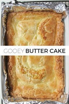Gooey Butter Cake- Gooey Butter Cake Classic Gooey Butter Cake Recipe // It& a classic for a reason! Turn yellow cake mix into something magical. This cake is so buttery and moist. You& never be able to taste that you started with a boxed cake mix! Easy Desserts, Delicious Desserts, Yummy Food, Cake Mix Desserts, Puff Pastry Desserts, Southern Desserts, Tasty, Cake Mix Recipes, Baking Recipes