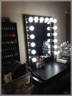 Vanity mirror with lights - makeup mirror wall hanging or stand alone - Hollywood style mirror ...