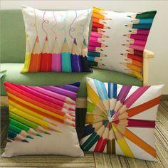 Linen cotton Modern  creative colored pencil Cushion cover home-decor-decorative-pillow case Home textile capas para almofadas #Affiliate