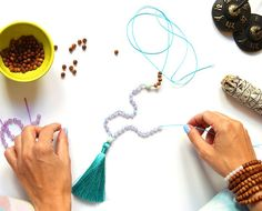 Learn how to craft your very own set of mala beads from beginning to end from Blooming Lotus! Choose the 108 beads that fit your intention.