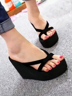 730e1703b2cc Black wedge flip flops Size 8  fashion  clothing  shoes  accessories   womensshoes
