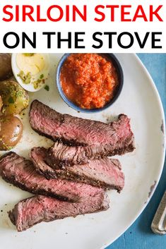 How to cook sirloin steak on the stove. Cooking sirloin on the stove top is easy! #sirloinsteak #sirloin #steak #stovetop #steaks #steaklovers #steaktime #dinner #cooking #delish #yummy #nonomnom New Recipes, Dinner Recipes, Favorite Recipes, Flank Steak Salad, Frozen Steak, Sirloin Steaks, How To Grill Steak, Group Meals