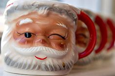 Santa cups!  I have 3 of these from my childhood!  I love them!