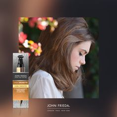 Instantly brighten your brunette, for a glowing & luminous wedding style with John Frieda Visbly Brighter In-Shower Treatment.  In just 5 minutes, your colour will be brightened & lightened, with a radiant, sunkissed glow.  #BridalHair #WeddingHair #WeddingStyle #BrunetteHair