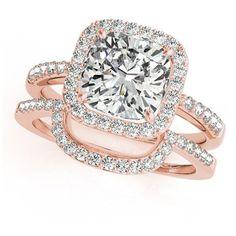 Allurez Cushion Cut Square Shape Diamond Halo Bridal Set 18k Rose Gold... (476,105 DOP) ❤ liked on Polyvore featuring jewelry, rings, bridal rings, cushion cut wedding rings, 18k rose gold ring, wedding band rings and wedding band engagement ring