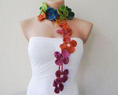 Dark Rainbow Flower Hand Crochet Lariat Scarf by fairstore on Etsy, $25.00