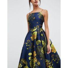 ASOS SALON Premium Jacquard Extreme Maxi Dress ($226) ❤ liked on Polyvore featuring dresses, full skirt, high low maxi dress, strappy dress, tall maxi dresses and hi low dress