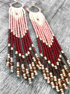 Long Fringe Beaded Earrings, Native American Inspired, Beaded Shoulder Dusters, Long Seed Bead Earrings, Chevron Earrings