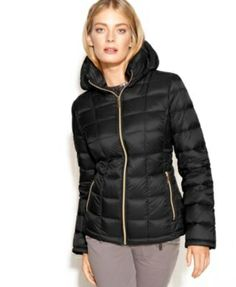 I love this Michael Kors black down puffy jacket. It is so light and warm. It comes with a detachable hood and a small bag to carry it. If you ever wanted to wear your down comforter...this is a stylish way.