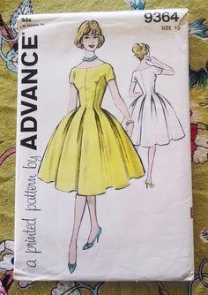 Advance 9364  Misses Dress Pattern, Full Bouffant Skirt, Size 10 Vintage 1960 Rockabilly Teen Tween $15.00